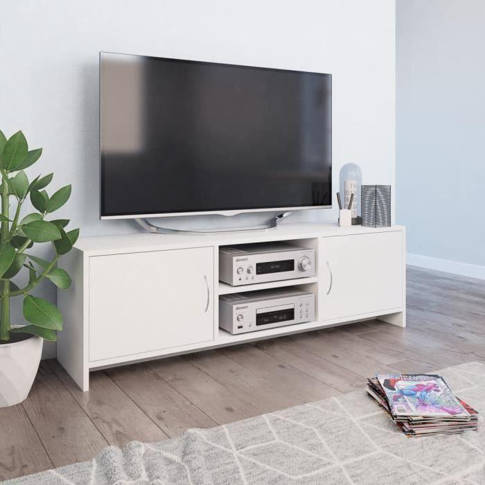 Furniture® Meuble TV Design - Meuble de rangement Meuble de Télévision Blanc 120 x 30 x 37,5 cm Aggloméré ��15208