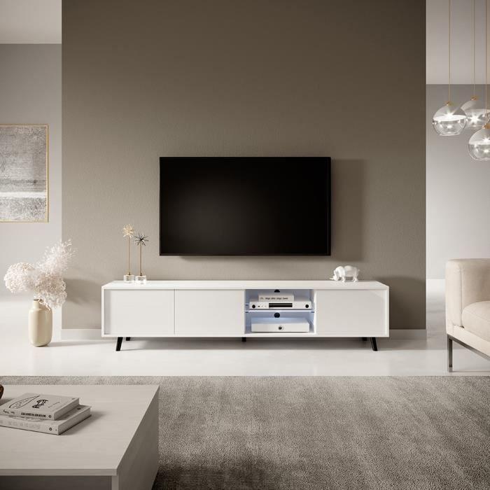 Meuble tv / Meuble de salon - GALHAD - 175 cm - blanc mat / blanc brillant - grande capacité de rangement - éclairage LED