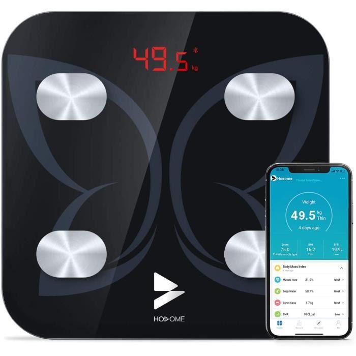 Pèse Personne Impédancemètre, Hosome Balance Connectée, Pèse-Personne Bluetooth Balance Salle de Bains Impedancemetre avec 17 Donnée