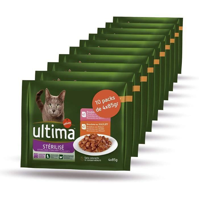 Ultima Nourriture Humide pour Chat Stérilisé 10 packs de 4x85gr 447364