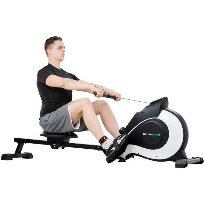 GEARSTONE Rameur d'appartement pliable à résistance magnétique équipement de fitness à domicile noir et blanc