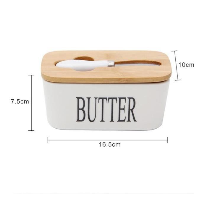 Plateau,Boîte à beurre en céramique scellée De style nordique, couvercle en bois pour tableau blanc - Type 16.5x10x7.5cm #A