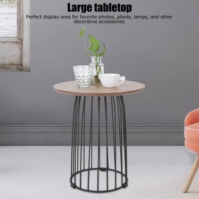 Table basse ronde simple moderne de table d'extrémité pour le salon à l'intérieur et à l'extérieur des fournitures (noir)