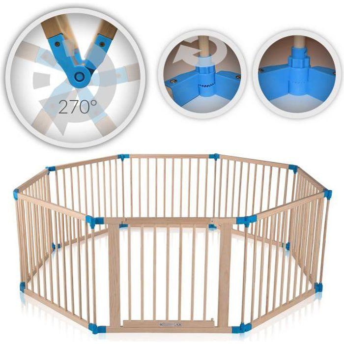Baby Vivo Parc Bébé Barrière Sécurité Pliable Enfant Protection Porte en Bois - réglable individuellement- 8 Éléments PREMIUM
