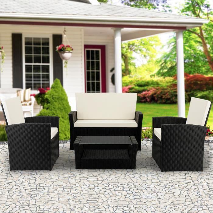 DEUBA - Salon de Jardin - Polyrotin • set complet + coussins - Noir - Résistant intempéries et UV, canapé, fauteuils, mobilier