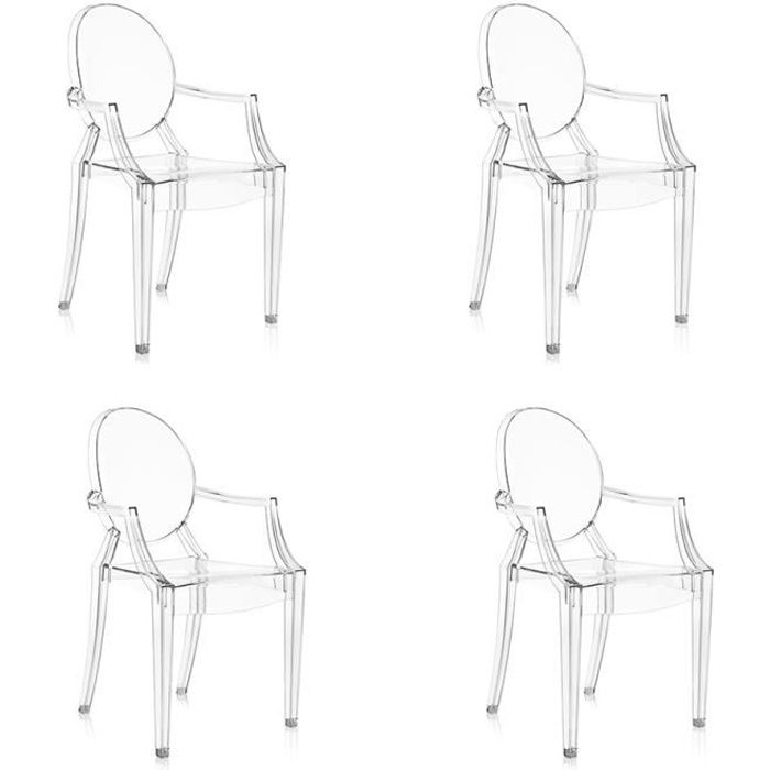 KARTELL Lot de 4 chaises Louis Ghost - Transparent