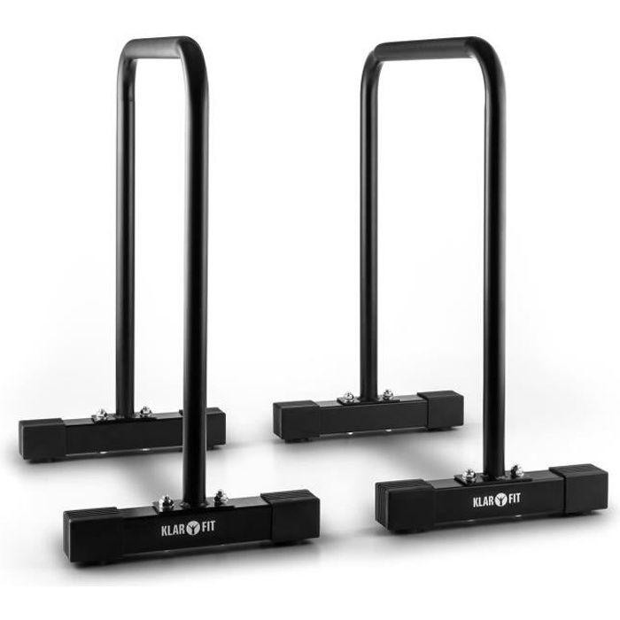 CAPITAL SPORTS Barres parallèles fitness pour entraînement complet du corps (cadre en acier, supporte jusqu'à 180kg) –noir