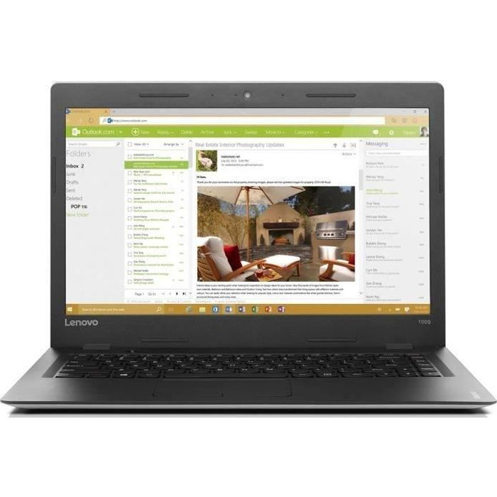"LENOVO PC Portable Ideapad 100S 14IBR 14"" HD - RAM 2Go - Celeron N3060 - Stockage 32Go SSD - In"