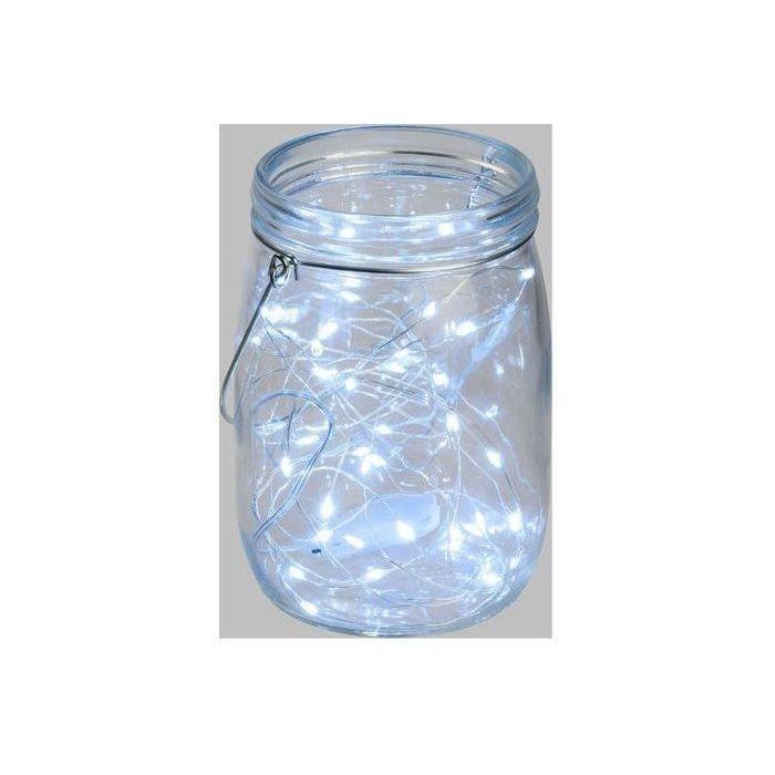 Pot en verre Ø15,5 cm avec guirlande de 40 MicroLED lumière fixe blanc froid
