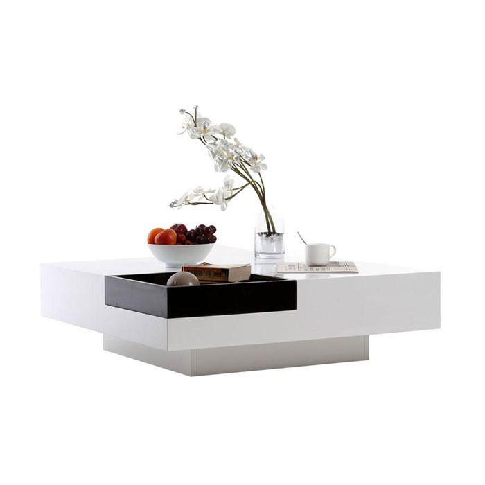 Table basse design laquée blanche plateau amovible