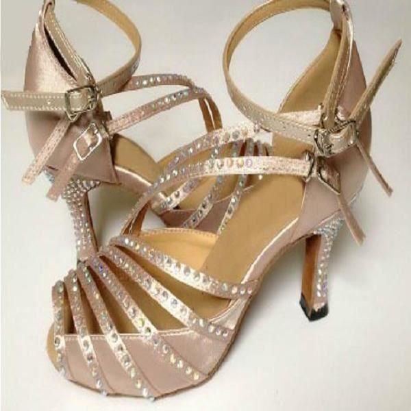 Chaussures de danse,DILEECHI marque noir tache diamant chaussures de danse latine femme semelle souple grande taille 43-45 strass