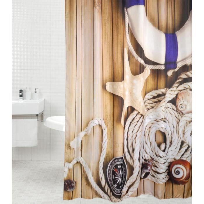 Rideau de douche Maritime 180 x 200 cm - de haute qualité - 12 anneaux inclus - imperméable - effet anti-moisissures