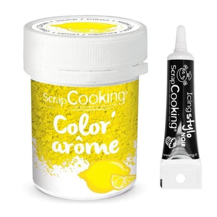 Colorant alimentaire jaune arôme citron 10 g + Stylo glaçage noir
