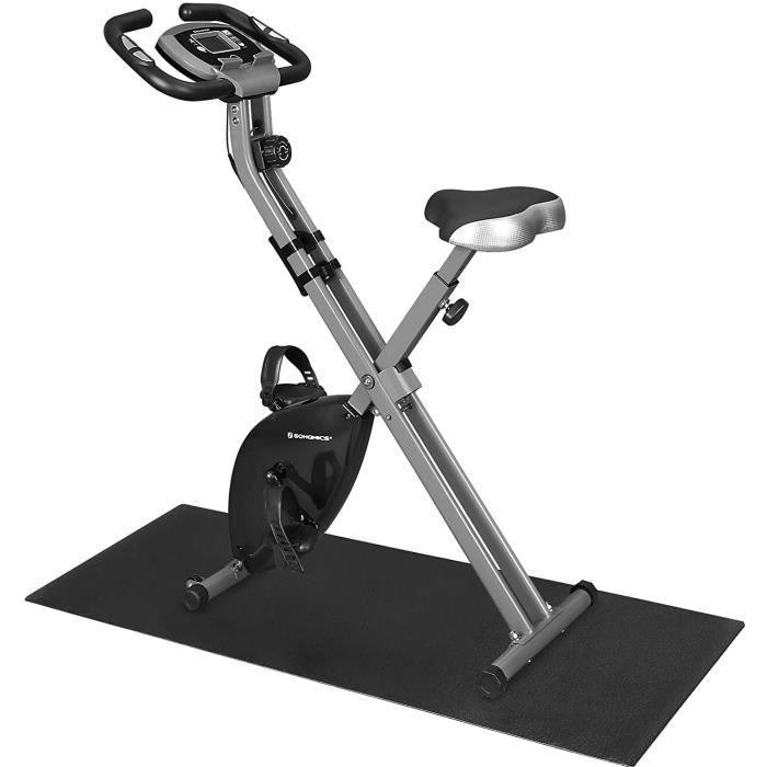 SONGMICS Vélo d'appartement pliable X-Bike, 8 Niveaux de Résistance Magnétique, Tapis de Sol, Capacité 100 kg, Noir SXB11BK