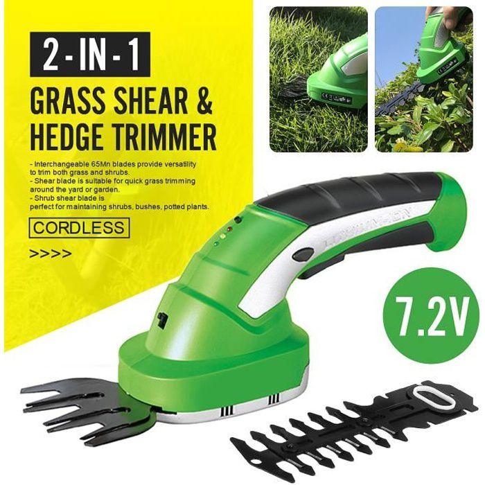2EN1 Mini Taille-haie Sans fil Tondeuse à Gazon Rechargeable Batterie 2000mAh - Outil d'élagage Jardin