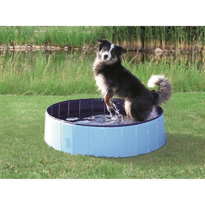 TRIXIE Piscine - Ø 160 × 30 cm - Bleu clair et bleu - Pour chien