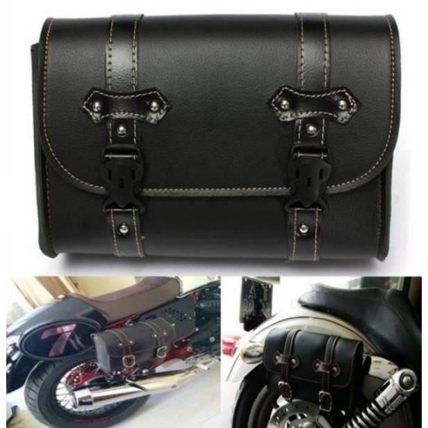 HK30868-Sac de selle en cuir PU Moto Sacoche Noir Sac à Outil Imperméable Kit Sac de Voyage Universel Pour Harley Davidson