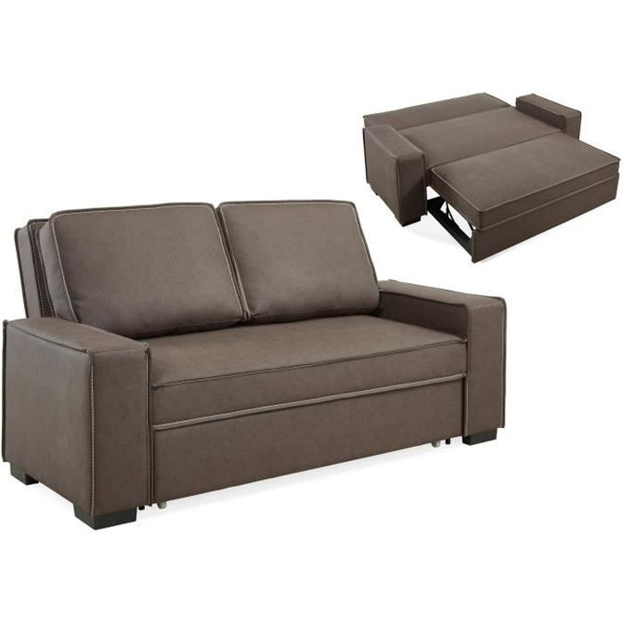 Canap 3 places convertible en tissu marron james achat for Canape 8 places convertible
