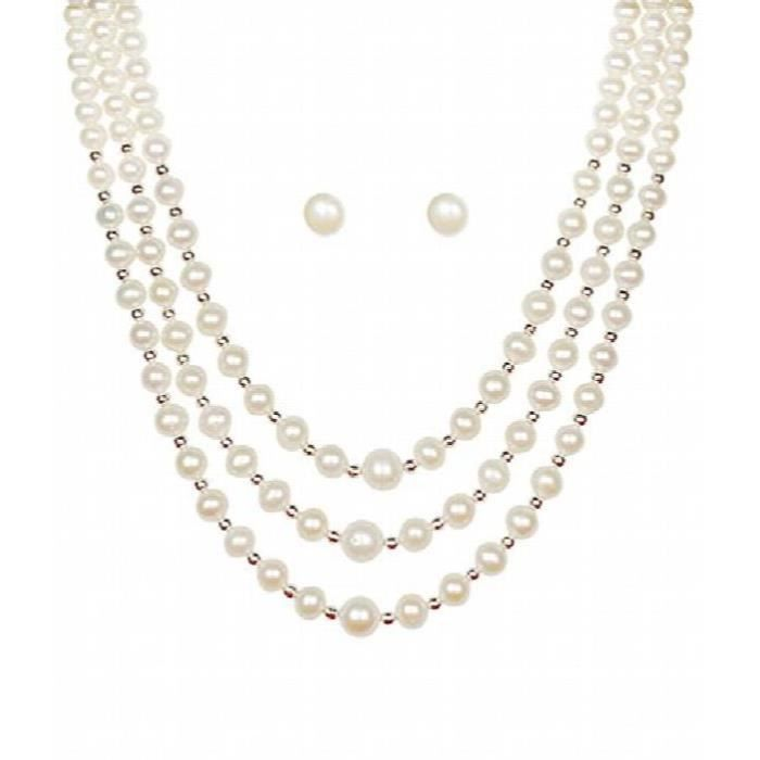 Womens Necklace Setwhite Colorpearl Three Line For AndA60MV