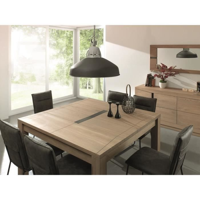 table de repas carr e en ch ne massif 140 cm avec allonge dark meuble house marron achat. Black Bedroom Furniture Sets. Home Design Ideas