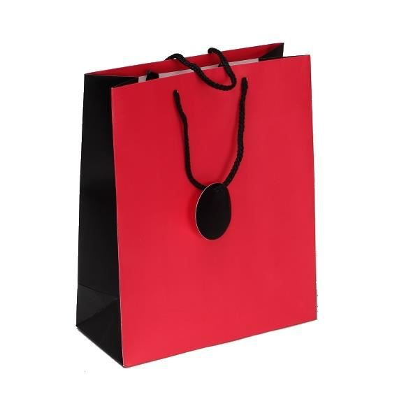 petit sac boutique rouge et noir avec tiquette message poign es en cordon noir achat. Black Bedroom Furniture Sets. Home Design Ideas