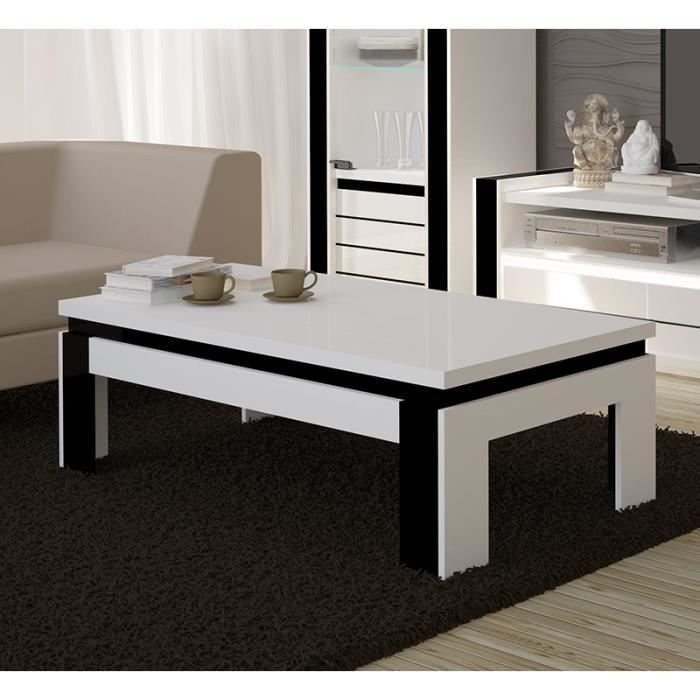 Table basse design lina blanche et noire laqu e achat for Table basse blanche design
