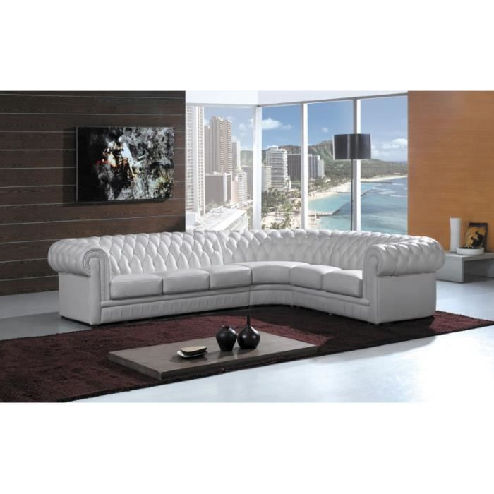 canap d 39 angle en cuir blanc chesterfield achat vente canap sofa divan cuir bois. Black Bedroom Furniture Sets. Home Design Ideas