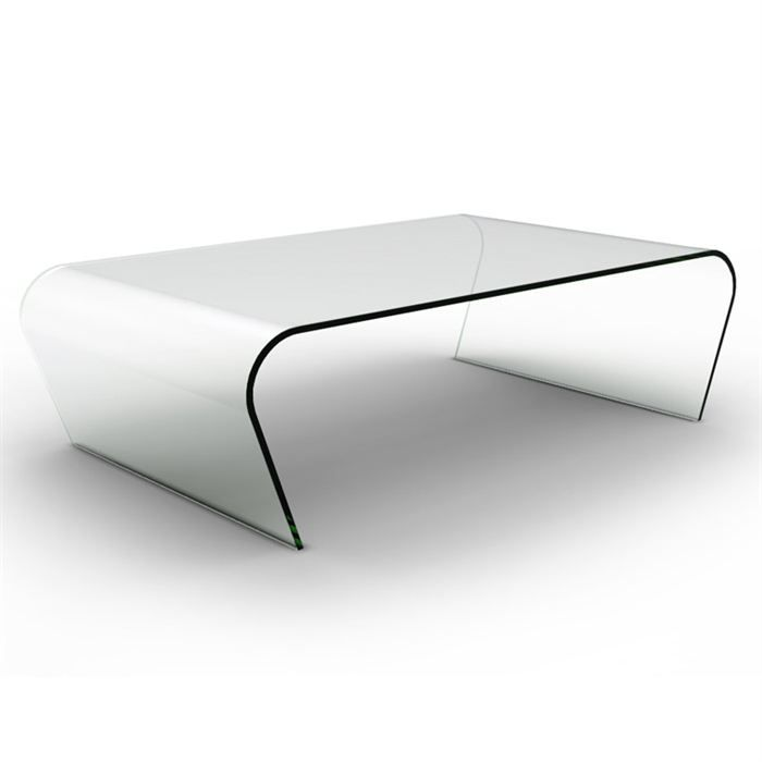 Table basse drew en verre transparent courb achat - Verre table basse ...