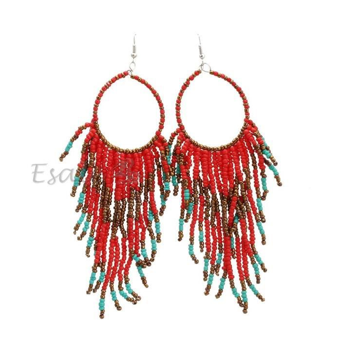 boucles d 39 oreille crochet frange rouge bijoux achat vente boucle d 39 oreille boucles d. Black Bedroom Furniture Sets. Home Design Ideas