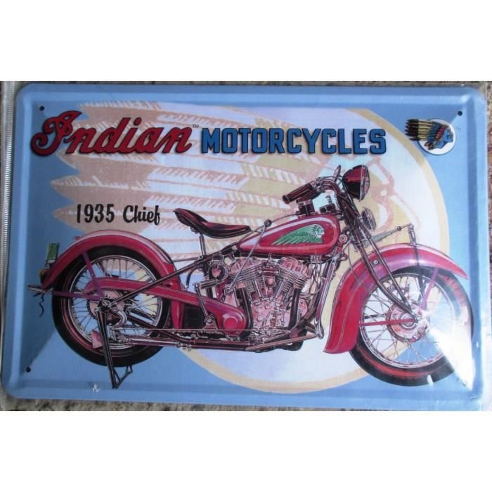 plaque moto indian motorcycle 30cm tole bomb e deco garage achat vente objet d coration. Black Bedroom Furniture Sets. Home Design Ideas