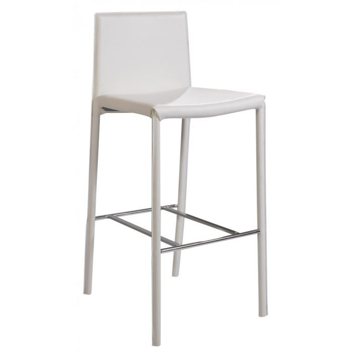Lot de 2 chaises de bar blanches camille achat vente for Achat chaise de bar
