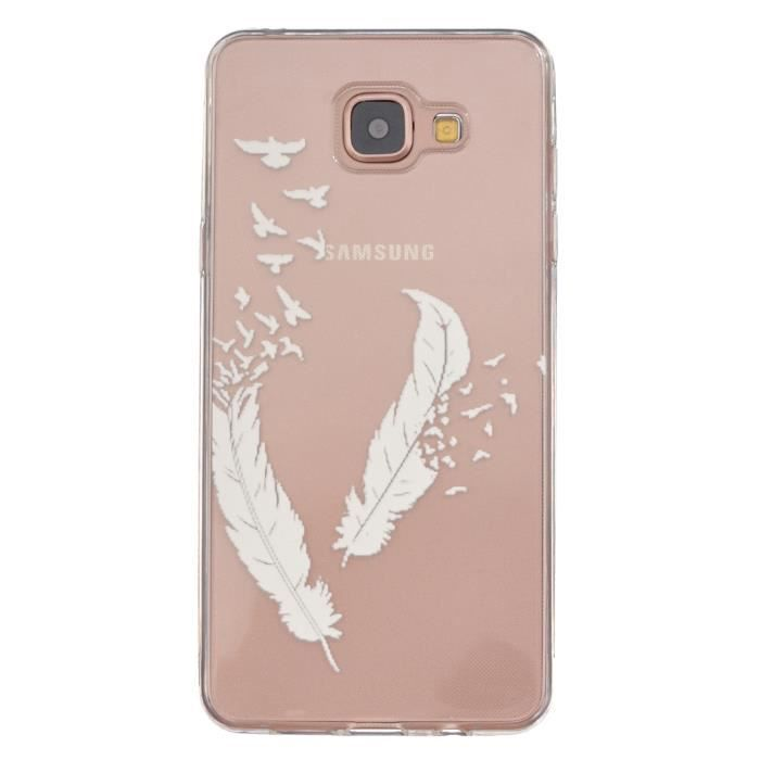 coque samsung galaxy a5 2016 a510 housse etui plume blanc silicone tpu transparent case. Black Bedroom Furniture Sets. Home Design Ideas