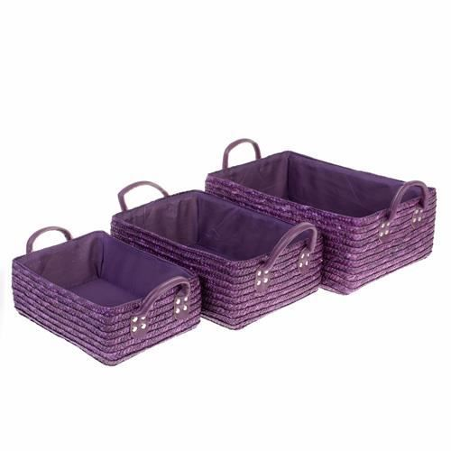 3 paniers de salle de bain osier violet achat vente casier pour meuble cdiscount. Black Bedroom Furniture Sets. Home Design Ideas