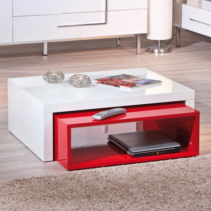 table basse de salon d 39 appoint carr gigogne blanc laqu et rouge laqu achat vente table. Black Bedroom Furniture Sets. Home Design Ideas