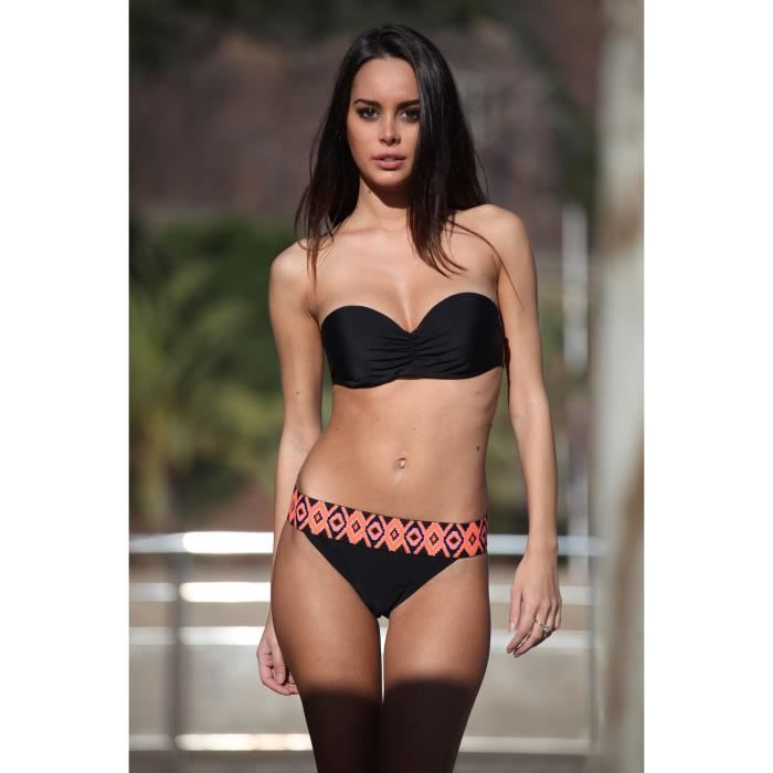 maillot de bain bandeau push up noir lastique ethnique noir achat vente maillot de bain. Black Bedroom Furniture Sets. Home Design Ideas