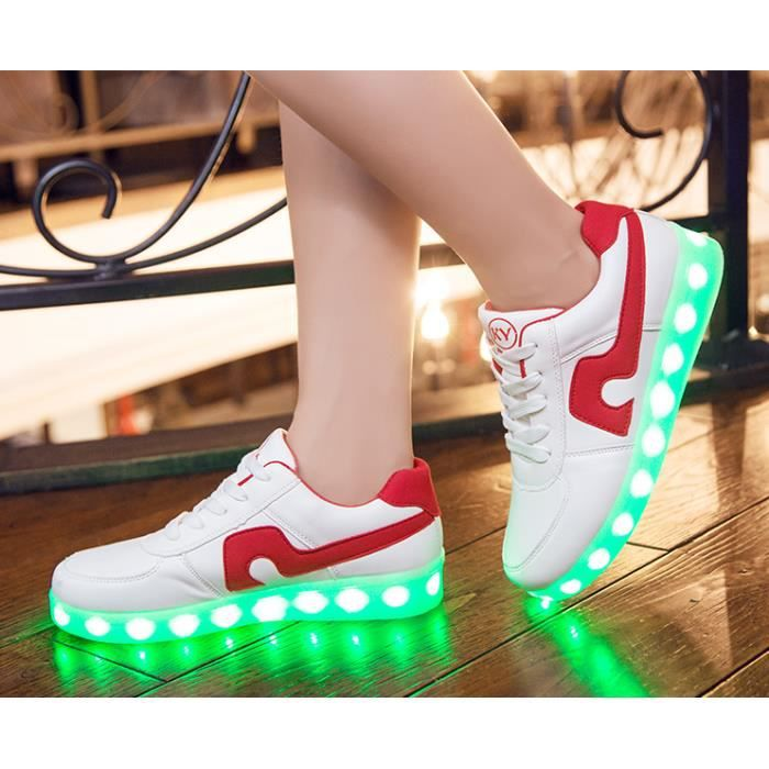Danse 7 Couleur USB Charging LED Chaussures de sportLueur Sneakers