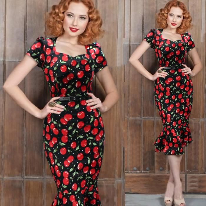 robe de rockabilly pin up wiggle crayon ann es 40 50 style vintage avec ceinture robe de f te de. Black Bedroom Furniture Sets. Home Design Ideas
