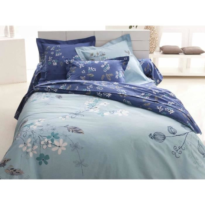 parure housse de couette alison aqua achat vente. Black Bedroom Furniture Sets. Home Design Ideas