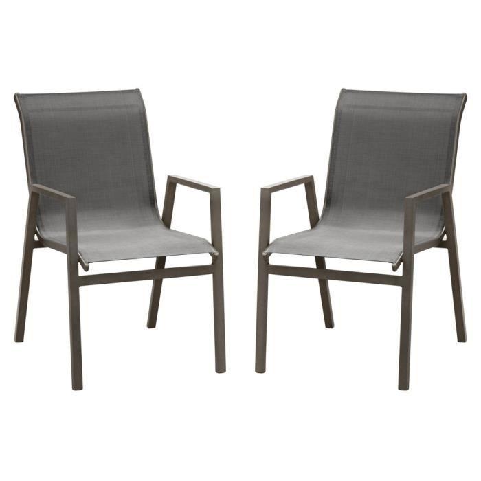 FAUTEUIL JARDIN  Chaise de jardin en aluminium Marbella - Lot de 2