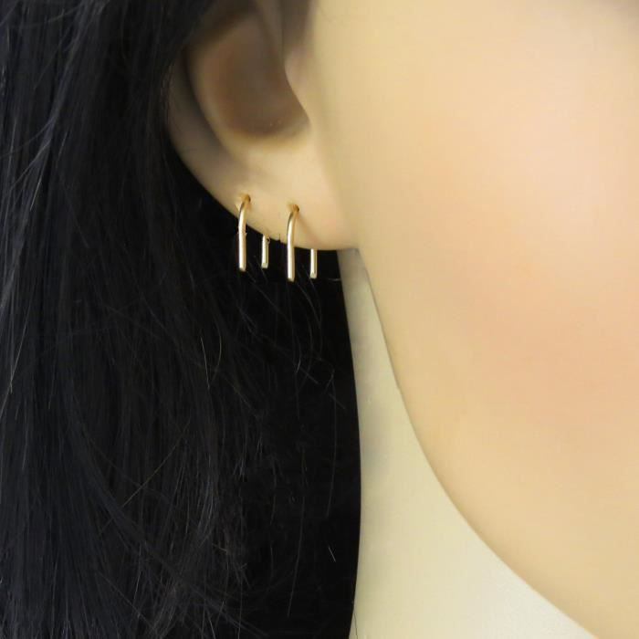 Womens Short Arc Earrings Gold Filled 14k, U Shaped Sleeper Earrings For Everyday, Pair RDP9P