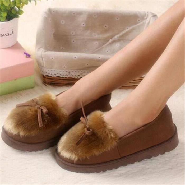 Lovely 2017 Enfiler Hiver Chaud Automne Fourrure Confort à Chaussures Ballerines Coton Mocassins Taille Bow Chaussure Femme HY4q56Wan