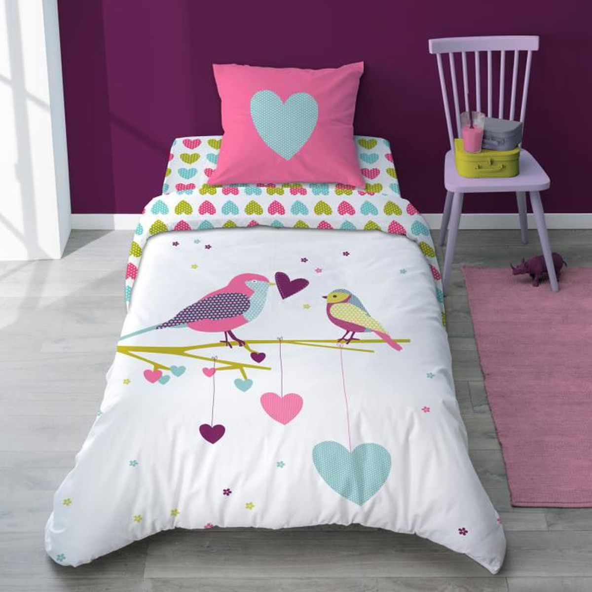 housse de couette fille oiseau printemps achat vente. Black Bedroom Furniture Sets. Home Design Ideas