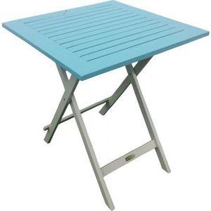 Table de Jardin Pliante en Bois 65 x 65 cm - Muscade / Bleu ...