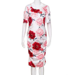 ROBE Mère Femmes Robe imprimé floral de Body-Con épaule