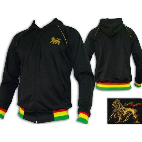 Veste Capuche Rasta Reggae Hoodie Lion brodé