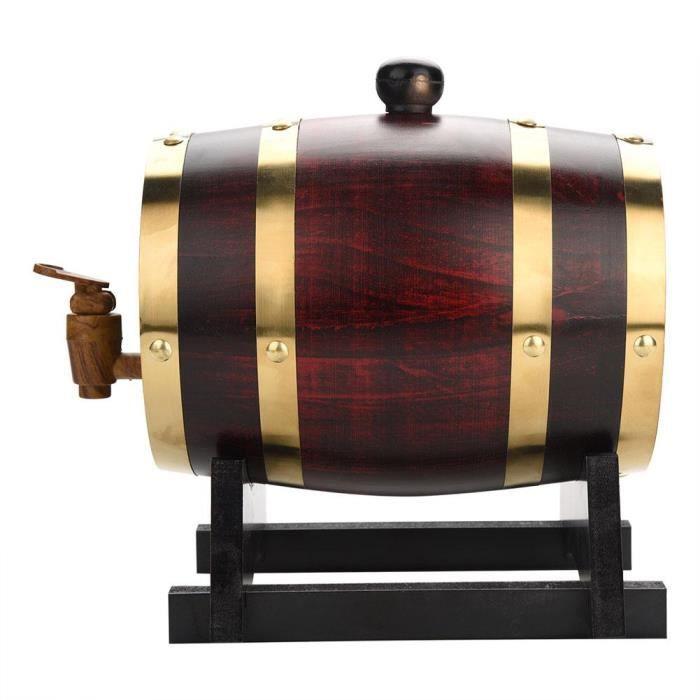 LIUX 1.5L Tonneau à vin en bois de chêne vintage pour bière et whiskey