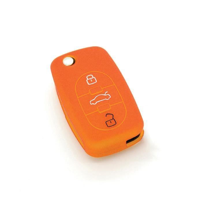 housse de clé en silicone pour Audi A1 A3 A4 A5 A6 A8 TT Q7 3 boutons. Orange