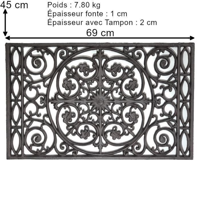 Tapis Fonte Paillasson Fonte Gratte Pied Fonte de Jardin d'Entrée 69 cm x 45 cm et 7.80 kg 10301-Paillasson