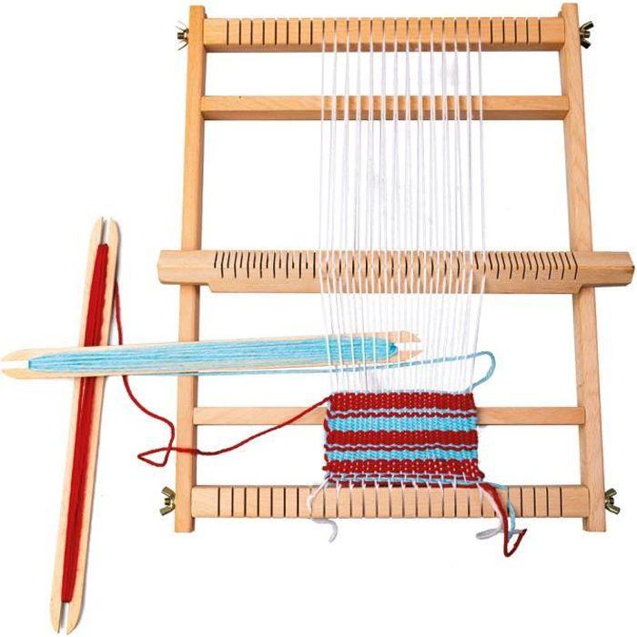 métier à tisser avec tissage de la laine