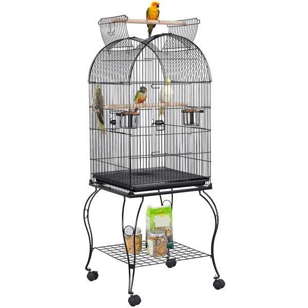 Grande Cage Oiseaux avec Toit Ouvrable Volière à Roulettes pour Canaries Perroquet Perruches Cockatiels, 59 x 59 x 150 cm Yaheetech